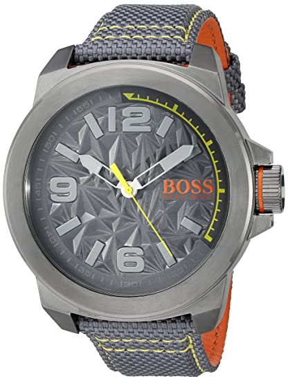 Boss Naranja Hombre York Cuarzo Resina y Lienzo Casual Reloj, Color: Gris (
