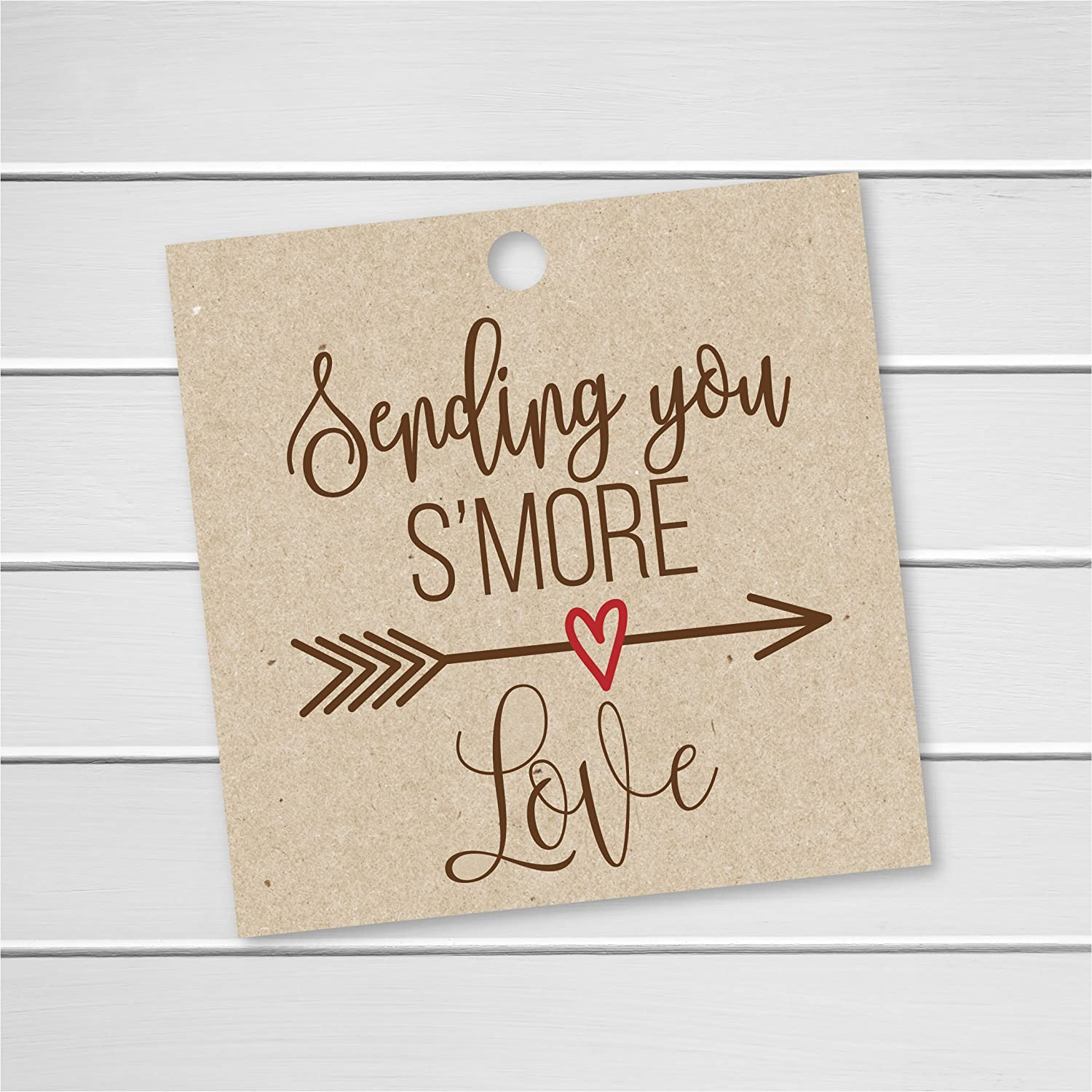24 S'More Love Tags, Kraft Wedding Favor Tags for Smores, Sending you S'More Love (SQ-181) 24 S'More Love Tags