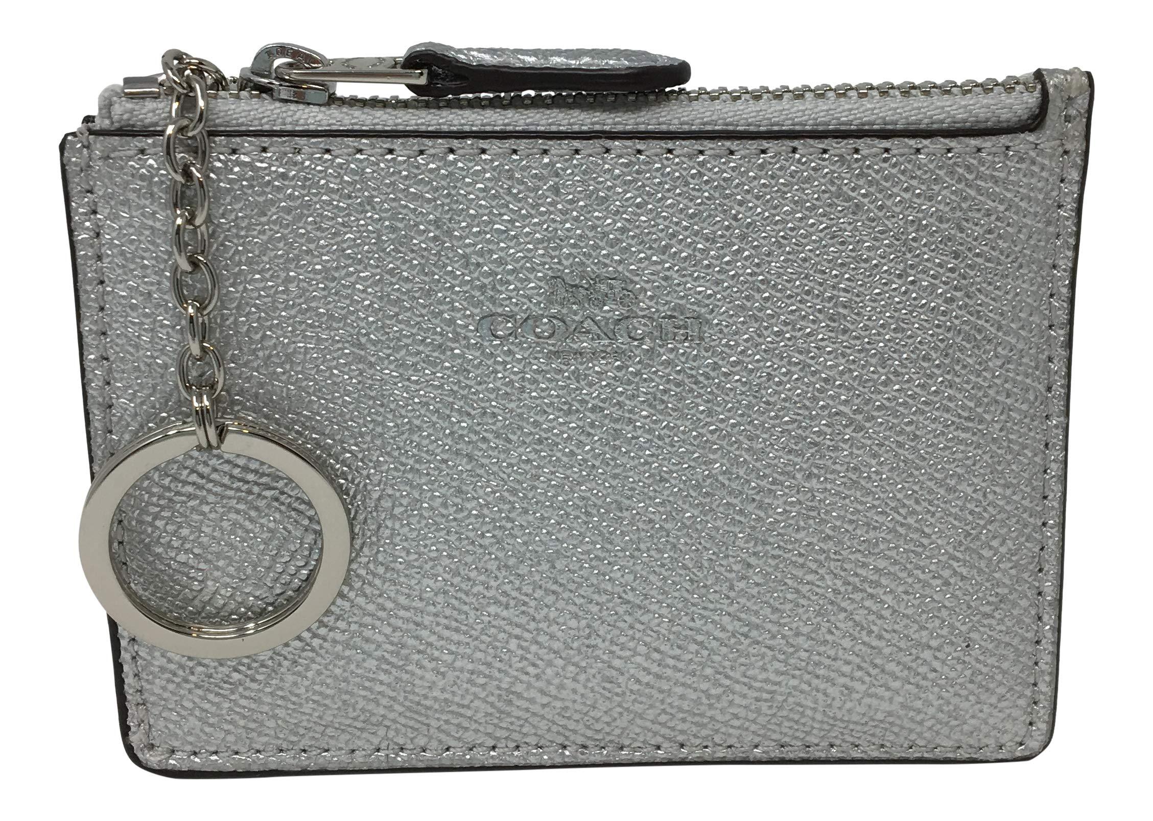 Coach Crossgrain Leather Mini ID Skinny Metallic Silver F21072