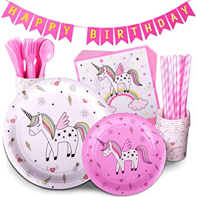 KToyoung RENDY Brandy Unicorn Birthday Party Supplies Set - Pink Tableware Pack Includes Disposable Paper Plates, 9 Oz Cups, Straws, Napkin and Bunting Banner - Serves 12 Guests for Girls: Toys & Games