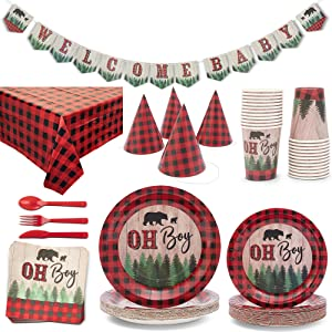 Red Plaid Boy Baby Shower Party Supplies, Dinnerware Set and Tablecloth (Serves 24, 194 Pieces)