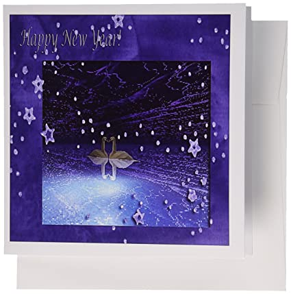 3drose swans new year purple greeting cards 6 x 6 inches set of