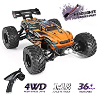 HAIBOXING RC Cars 1:18 Scale 4WD Off-Road Buggy 36+KM/H High Speed 18858, 2.4GHz All-Terrain Waterproof Remote Control Trucks, Hobby Grade RTR Electric Remote Control Cars for Kids and Adults