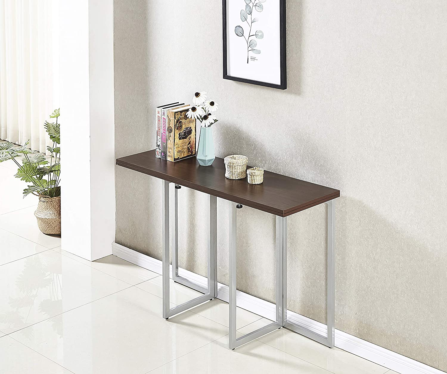 Amazon Com Minimax Decor Multi Purpose Modern Space Saving Expandable Desk And Dining Table Transforms From A Console Table Or Desk To A Large Dining Table Seats 6 When Fully Extended Black Melamine