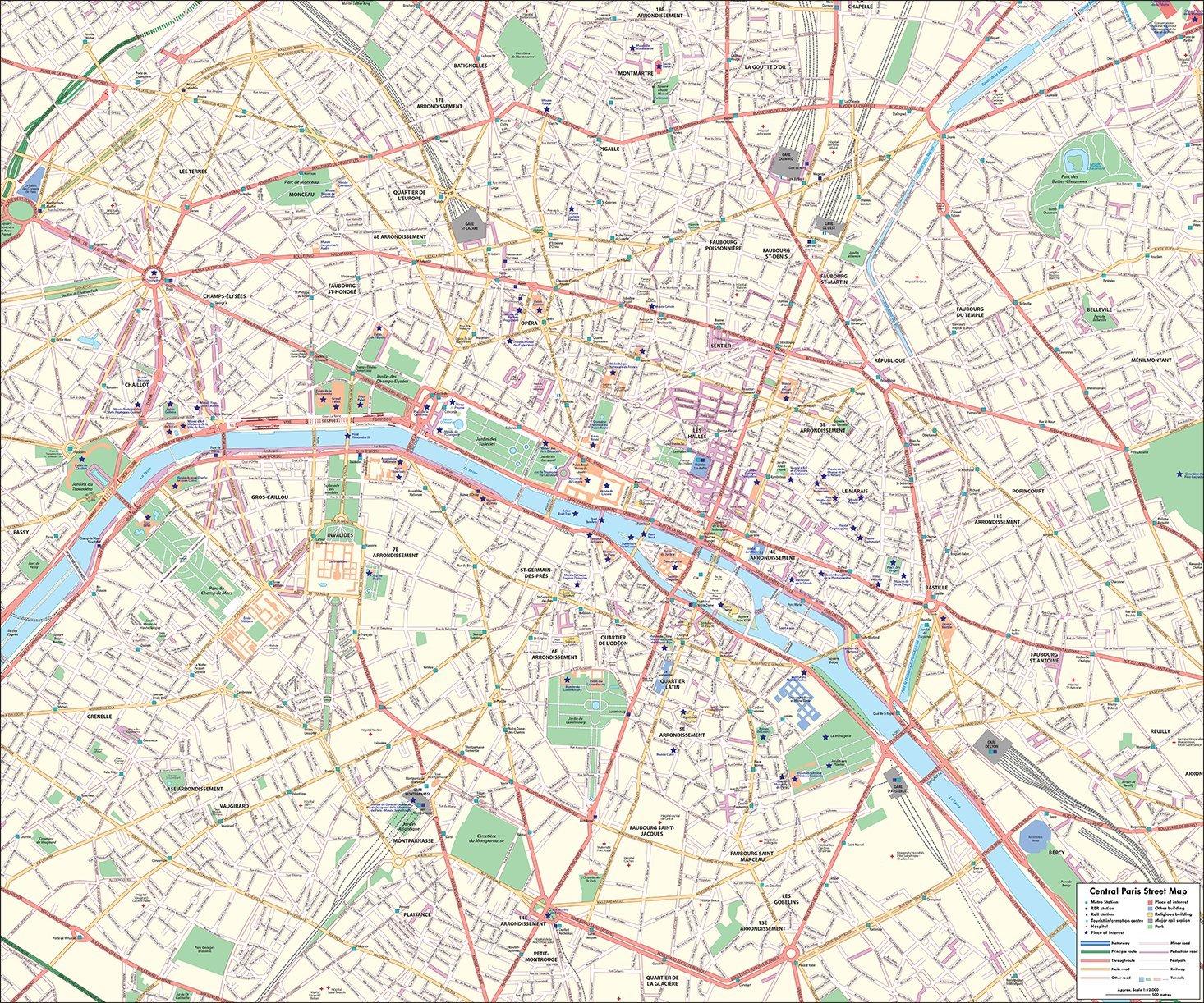 Paris Street Map – Central Paris – 100 x 120 cm: Amazon.de ...