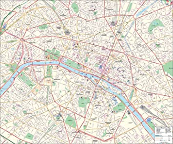 Paris Street Map – Central Paris – 100 x 120 cm: Amazon.de ...