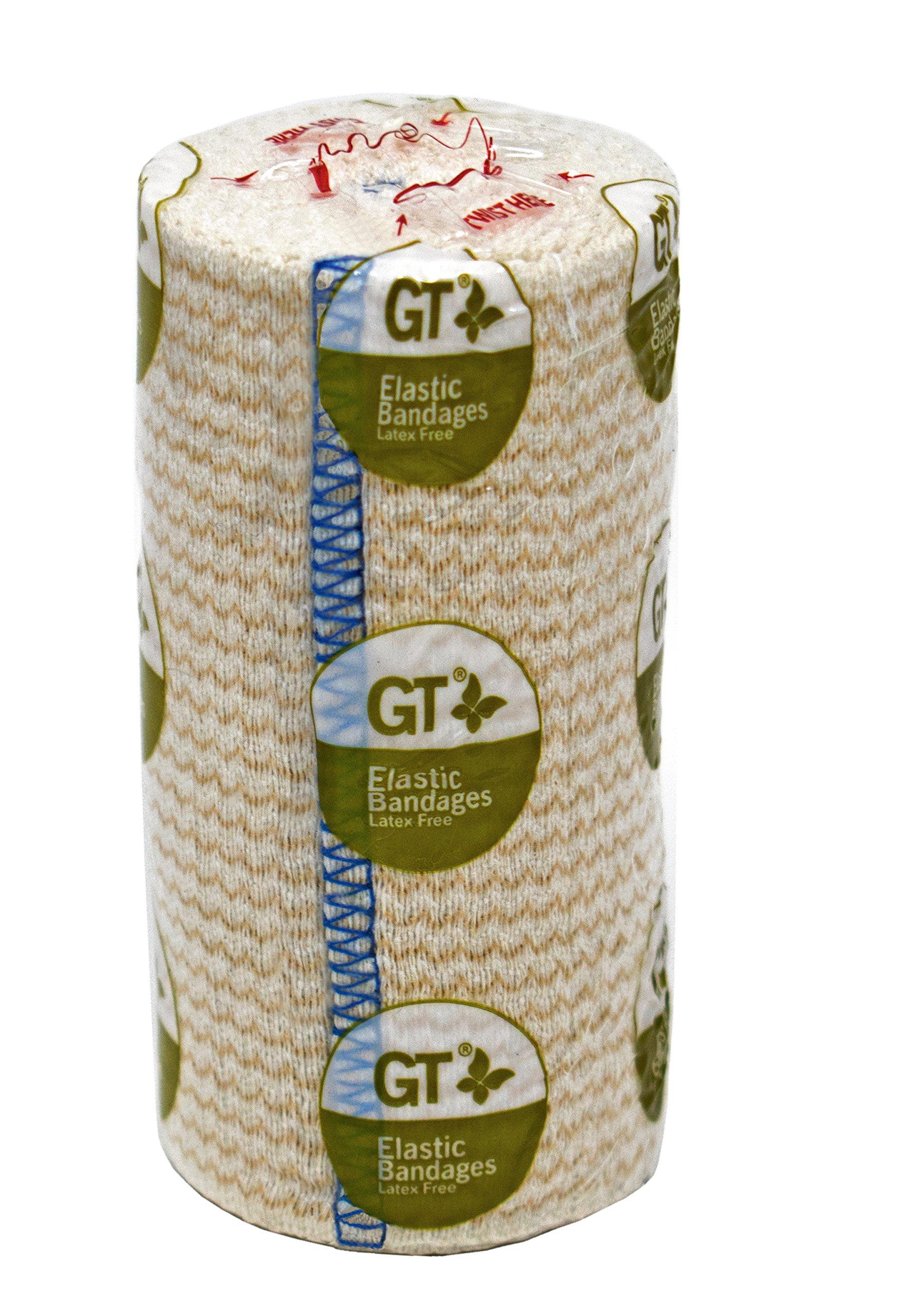GT Cotton Elastic Bandage Roll w/Hook Loop Closure, 4'' Width - 2 Pack