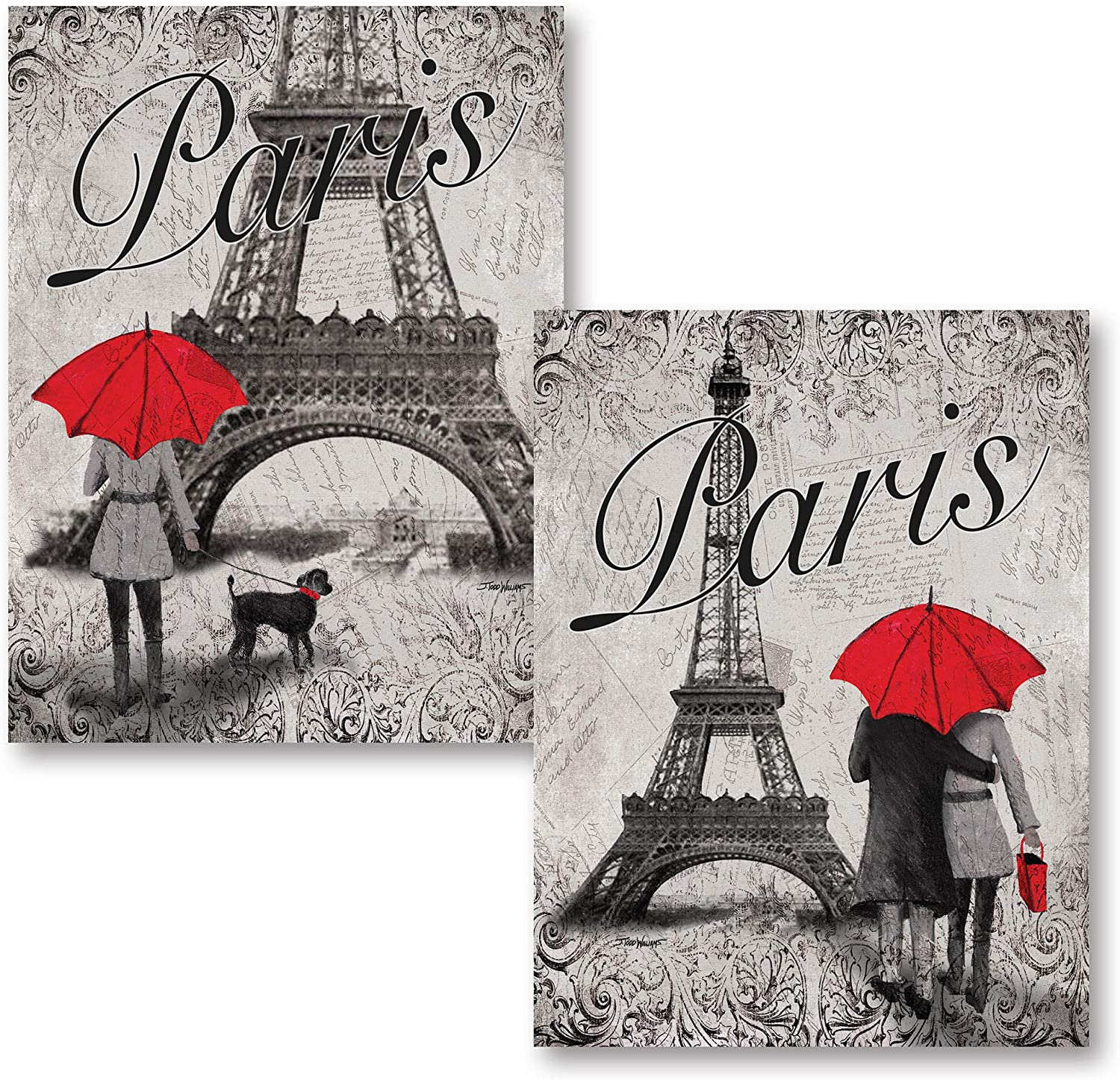 Gango Home Decor Strolling in Paris- Two Beautiful 11 x 14 in Poster Prints Eiffel Tower and Red Umbrella Set