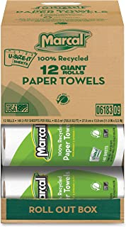 product image for Marcal 06183 Paper Towels, 2-Ply, 140 Sheets/Roll, 12 Roll/CT, White