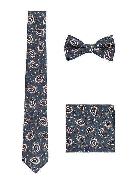 Hombre Pajarita Corbata Pañuelo de Bolsillo 3 en 1 Set - Pajarita Clásica 6*12 cm & Corbata Estrecha 6 cm & Pañuelo 3bHx2vX