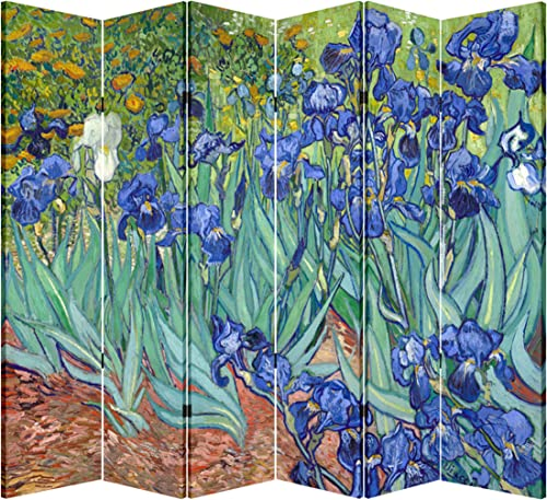 6 Panel Folding Screen Canvas Privacy Partition Divider- Van Gogh s Irises