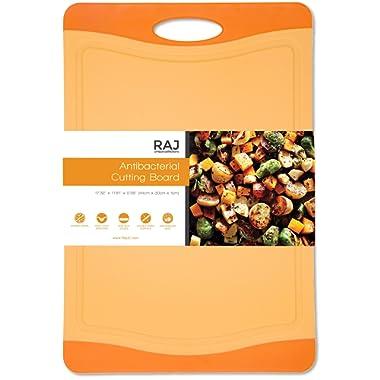 Raj Plastic Cutting Board Reversible Cutting board, Dishwasher Safe, Chopping Boards, Juice Groove, Large Handle, Non-Slip, BPA Free, FDA Approved (18 , Orange)