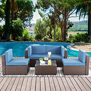Walsunny 5pcs Patio Outdoor Furniture Sets,Low Back All-Weather Rattan Sectional Sofa with Tea Table&Washable Couch Cushions(Brown Rattan)(Aegean Blue)