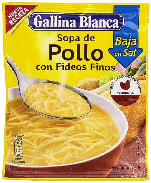 Gallina Blanca - Sopa de Pollo con Fideos Finos Bajo en Sal - 68g