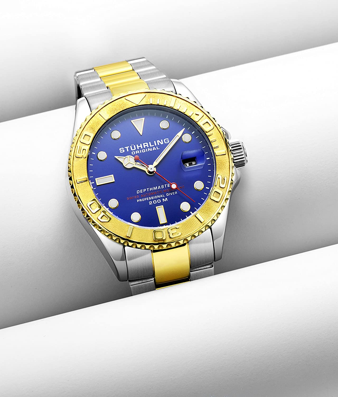 ... 200 Meters Water Resistant, Brushed and Polished Bracelet with Divers Safety Clasp and Screw Down Crown (Two Tone Gold): Watches