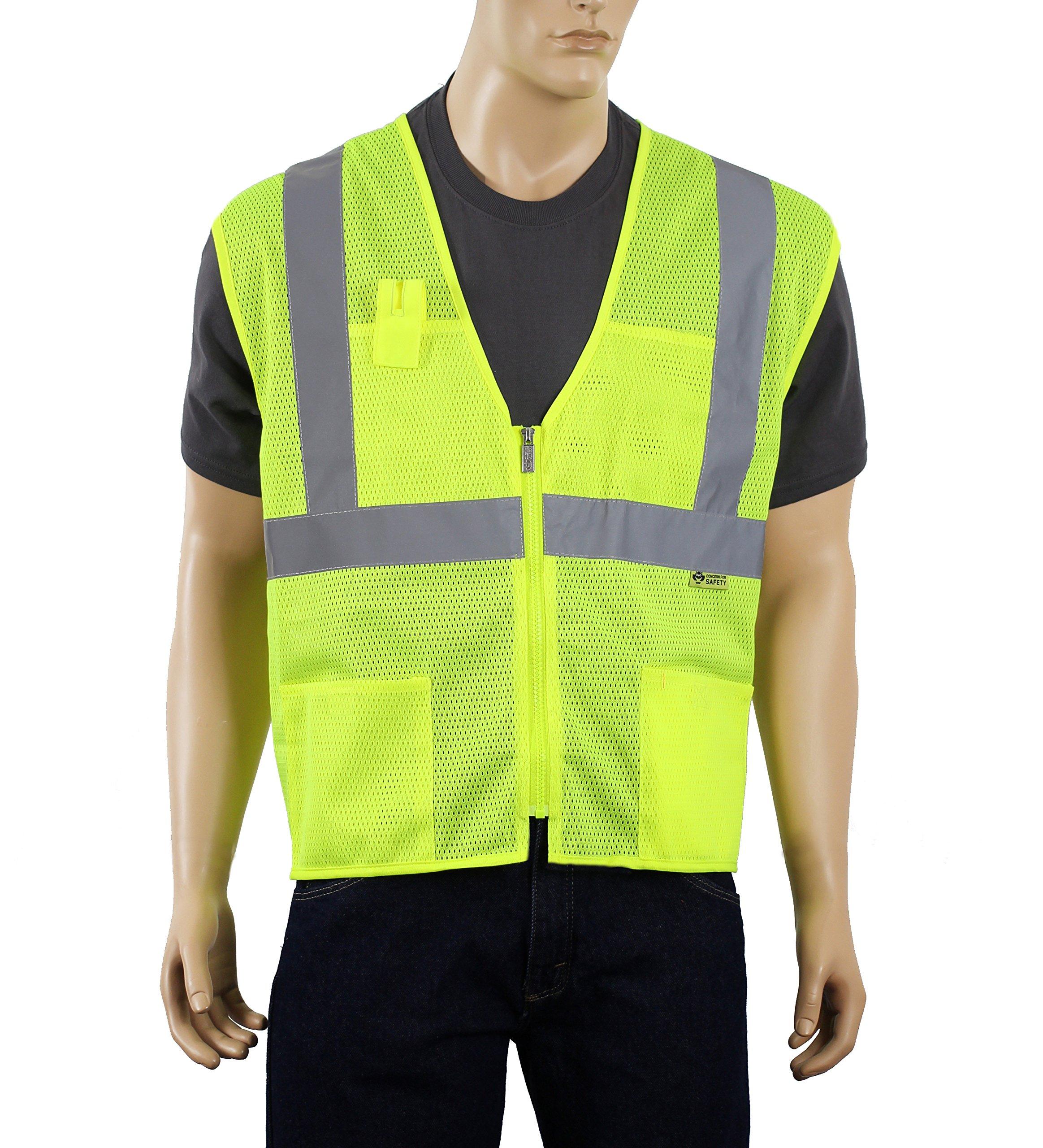 Safety Depot Class 2 Ansi Safety Vest Zipper with Pockets High Visibility Reflective Lime A520 (Medium)
