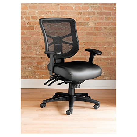 Alera EL4215 Elusion Series Mesh Mid-Back Multifunction Chair, Black Leather