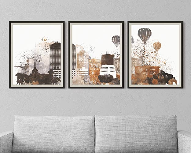 Albuquerque Set Of 3 Prints Modern Home Decor New Mexico City Triptych Wall Art For Bedroom Decorations Unframed Print Amazonca Handmade