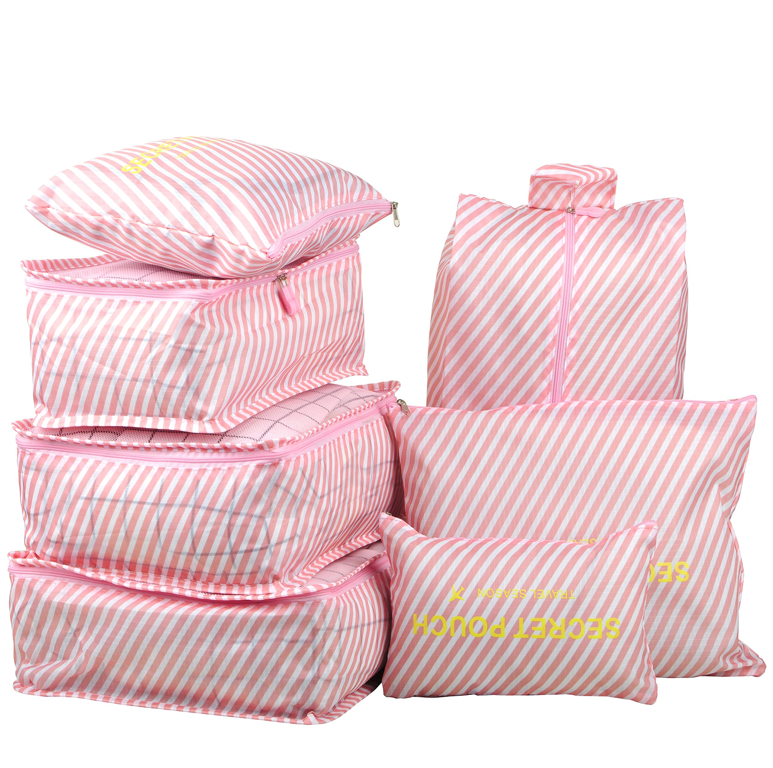 7 Set Travel Packing Organizer,Waterproof Mesh Durable Luggage Travel Cubes,1 Shoe Bag (Pink Stripe)