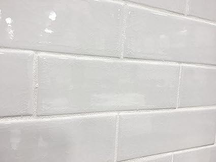 3x9 Vanilla Bean White Crackled Porcelain Tile Wall