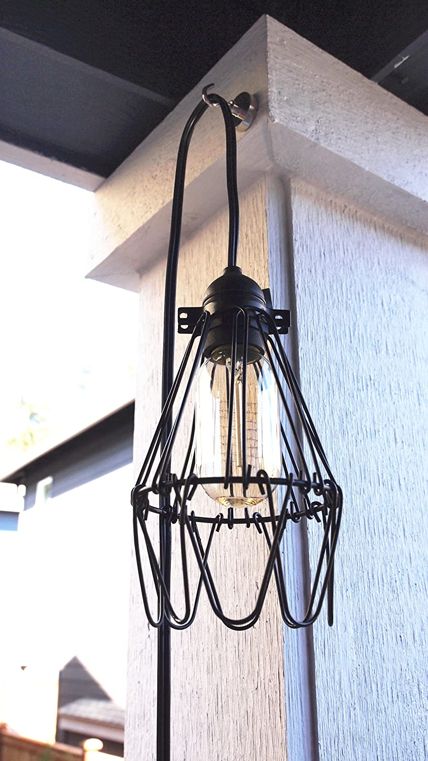 industrial cage lighting. Industrial Metal Bird Cage Lamp Guard String Light Shade Open Close Flower Ceiling Hanging Pendant Island Lighting Vintage Bulb Wire Shading Steampunk T