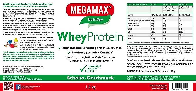 MEGAMAX - Whey Protein - Bebida a partir de suero de leche - Sin lactosa - Chocolate - 1200 g: Amazon.es: Deportes y aire libre