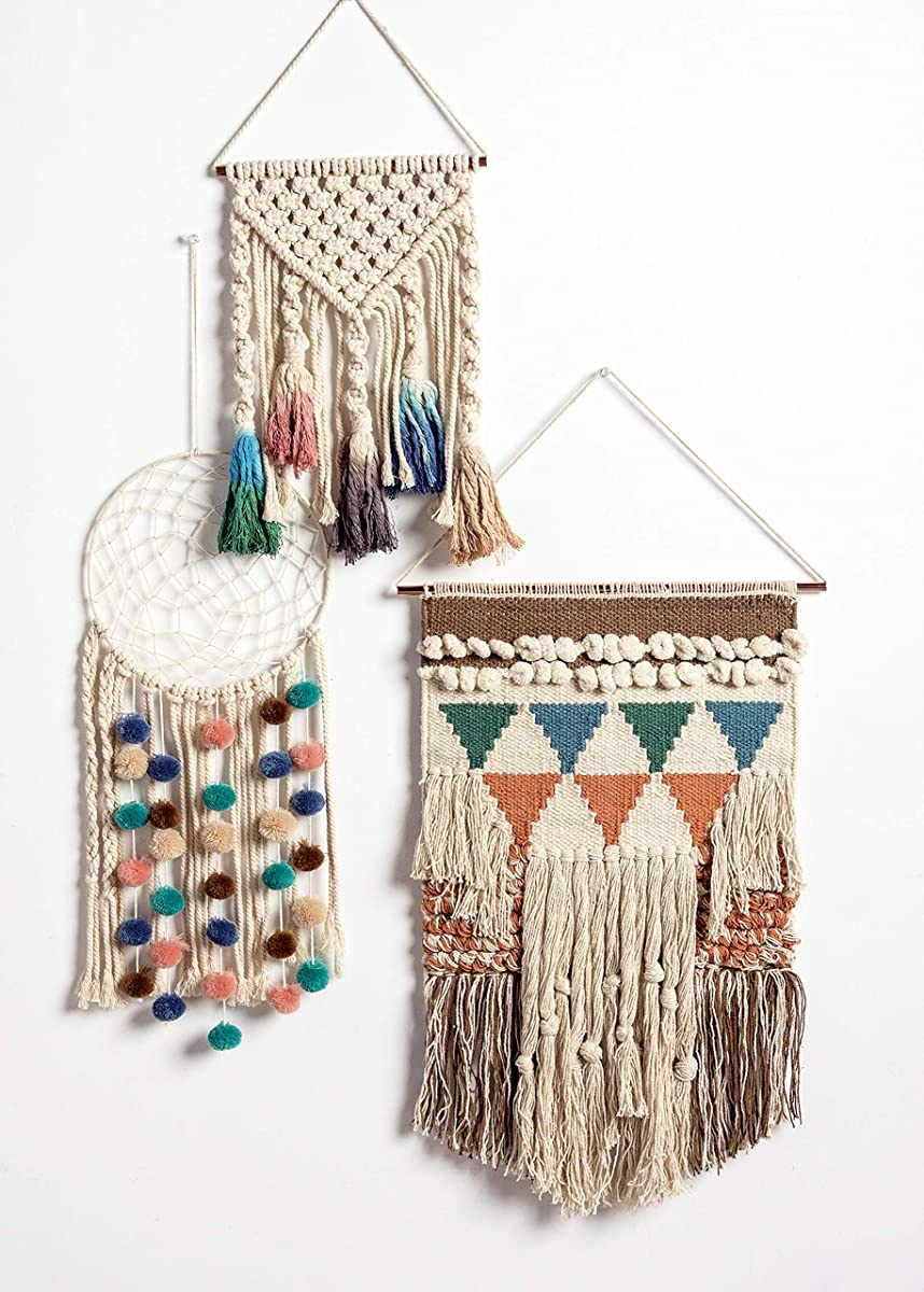 """Primitives by Kathy Bohemia Style Woven Wall Hanging, Handmade Cotton Fringe Tassel Banner with Copper Hanging Rod, Bohemian Decor for Apartment, Dorm, Living Room, Bedroom, Baby Nursery, 14""""W x 24""""L"""