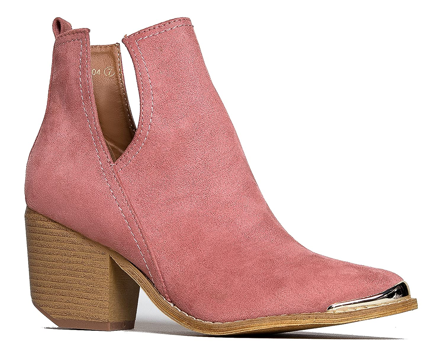 J. Adams Tess Western Bootie - Slip On V-Cut Out Metal Tipped Stacked Heel Boot B01MQGH5GV 6 B(M) US|Rose Pink