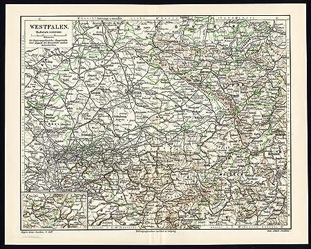 Dortmund On Map Of Germany.Antique Map Westfalen Westphalia Germany Dortmund Munster Meyers
