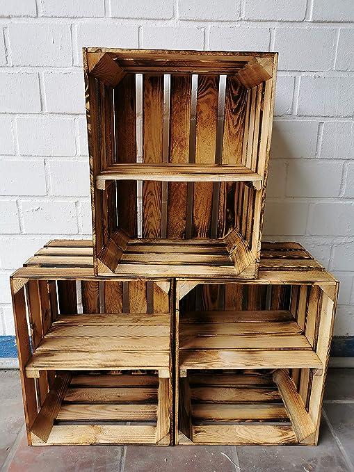 Ahora: estantes atornillados - Cajas de madera flameada para uso ...