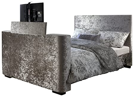 Newark Electric Tv Bed Silver Crushed Velvet With Tv Lift