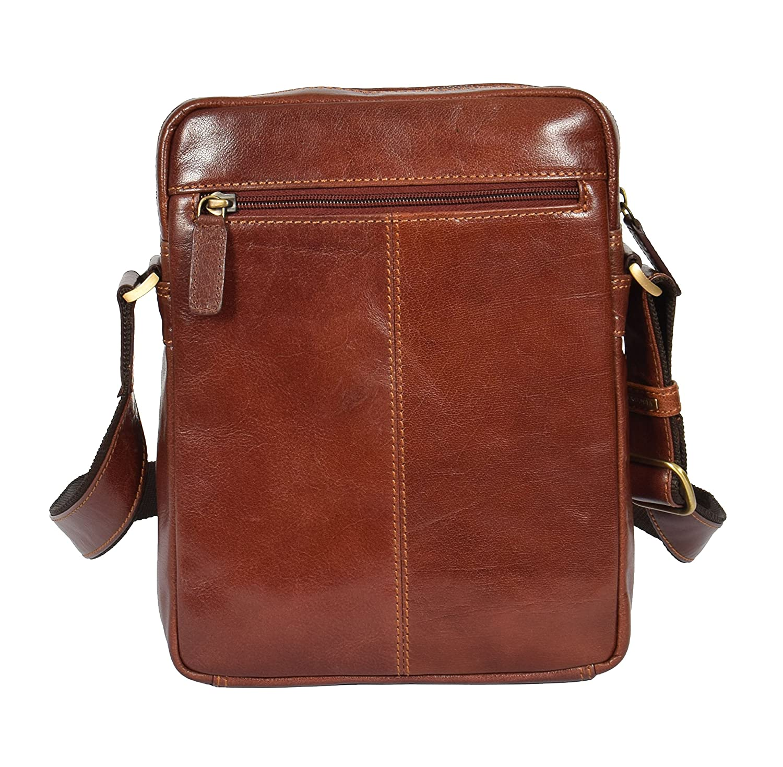 Mens Luxury Italian Leather Shoulder Organiser Casual Bag AVT1 Tan