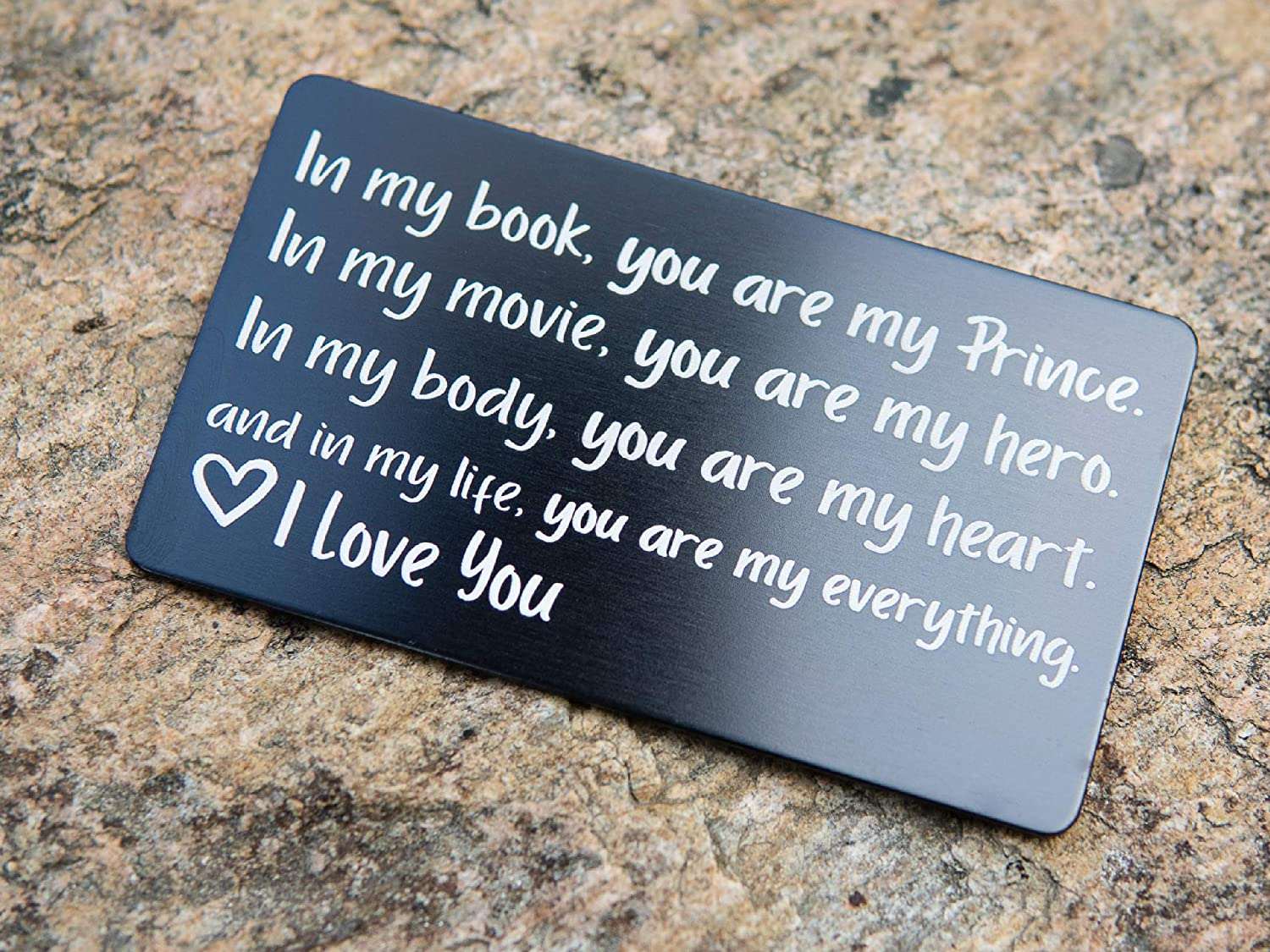 Amazon Com Wallet Card Love Note Engraved Aluminum Anniversary Gifts For Men Husband Gifts From Wife Boyfriend Gift Idea Valentines Day Meaningful Romantic Mini Wallet Insert Long Distance Handmade