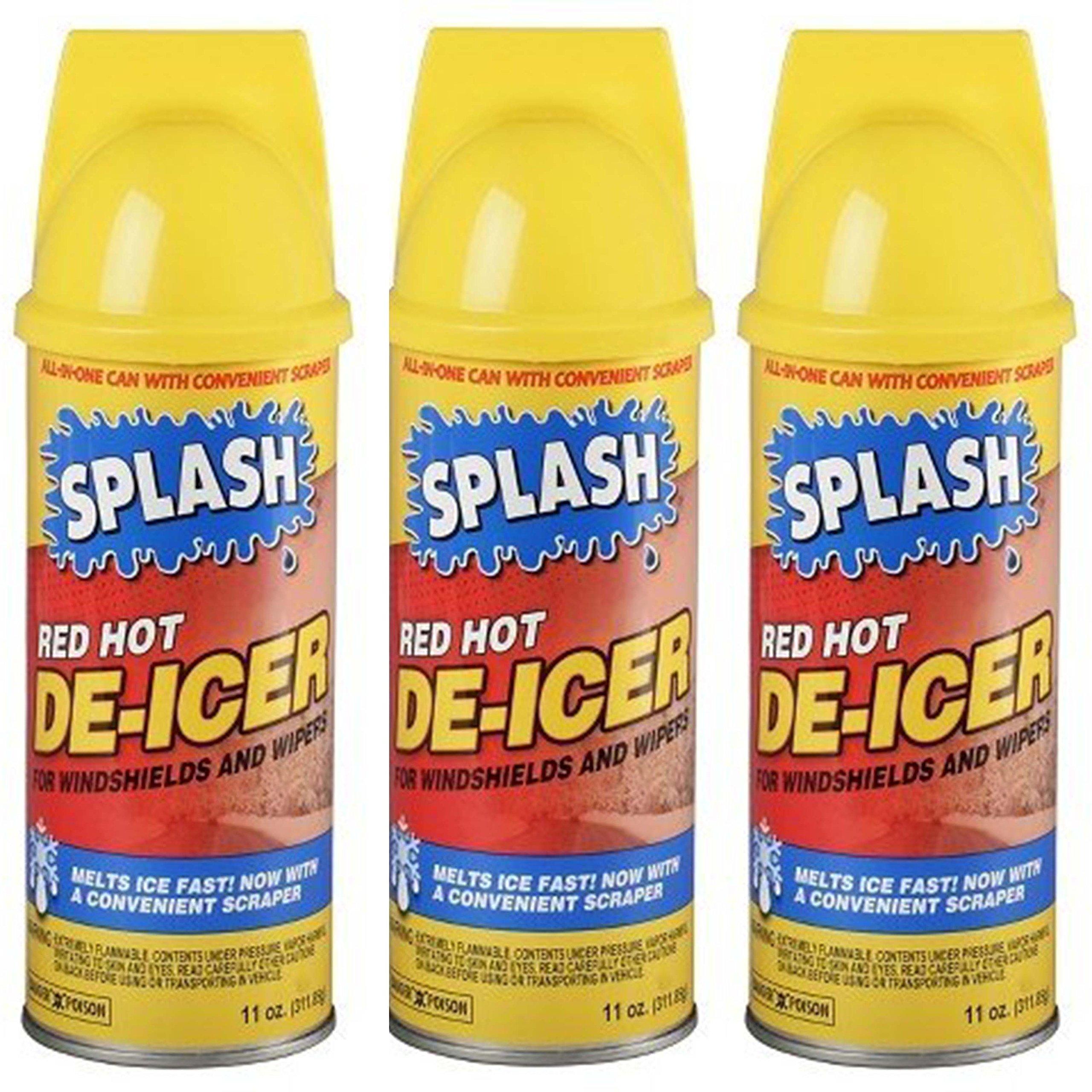 Splash Red Hot De-icer Aerosol Spray, 11 Ounces (Pack of 3) by SPLASH