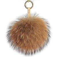 Fosrion Large Genuine Raccoon/Fox Fur Pom Keychain Bag Charm Fluffy Fur Ball