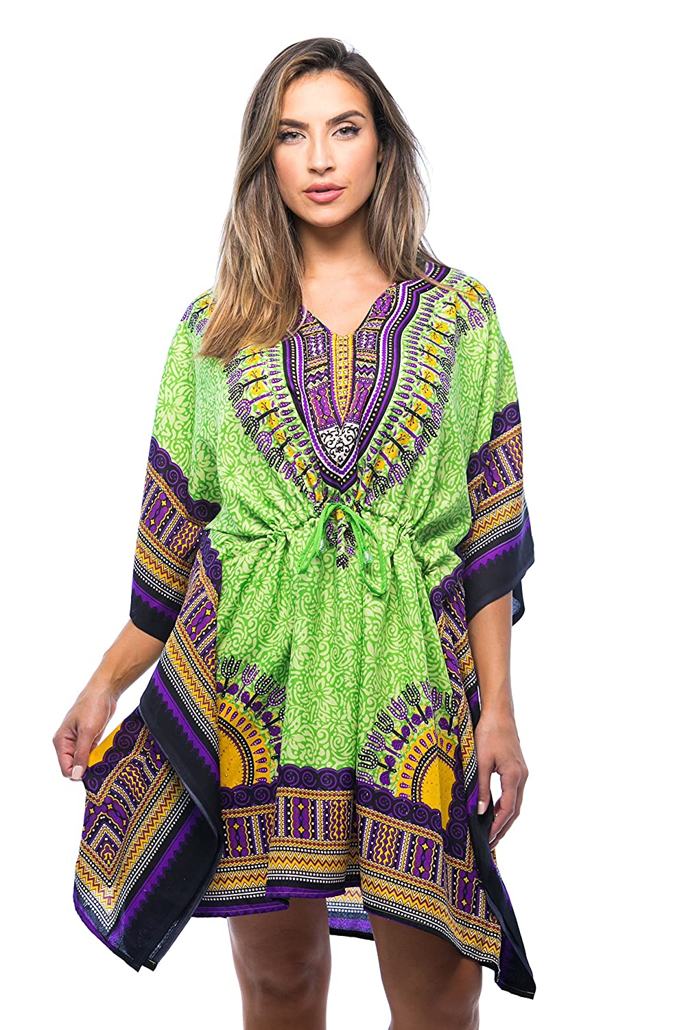 5f5095ad52f DASHIKI CHIC  Get your fab on in Riviera Sun dashiki African caftans for  women. With a stylish V-neck for a flirty peek of skin
