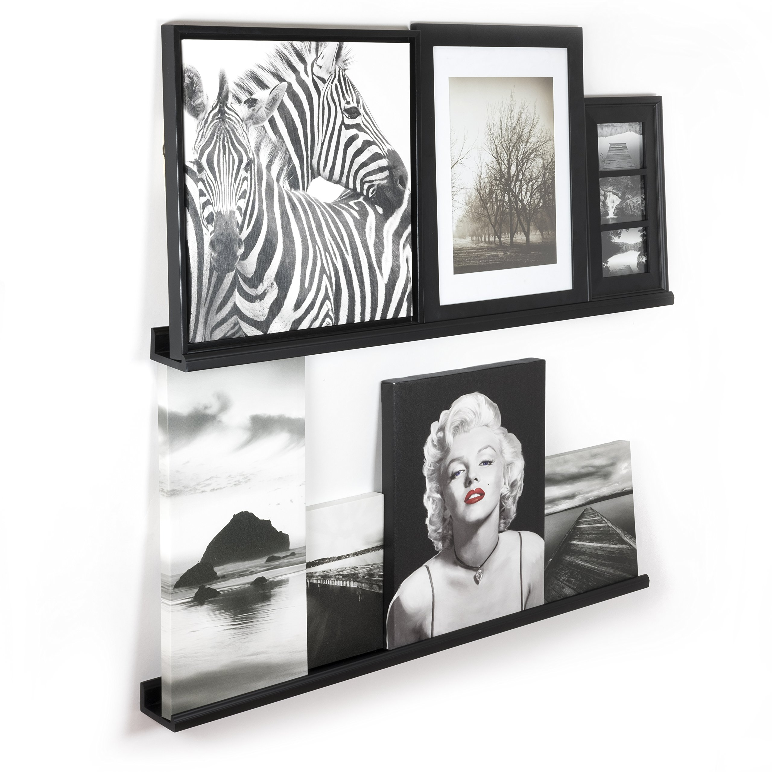 Wallniture Contemporary Floating Wall Shelf Ledge Picture Book Display Black 46 Inch Set of 2 by Wallniture (Image #2)
