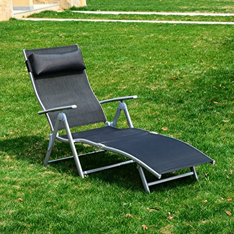 Modern Reclining Chaise Lounge Chair Folding Pool Beach Yard Adjustable Patio Furniture You will experience entertainment : reclining chaise - Sectionals, Sofas & Couches