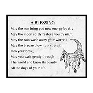 """A Blessing""-Apache Blessing Poem -Inspirational Native American Quotes Wall Art -14 x 11"" Spiritual Poster Print w/Moon & Dream Catcher Image-Ready to Frame. Perfect Home-Bedroom-Office-Studio Decor!"