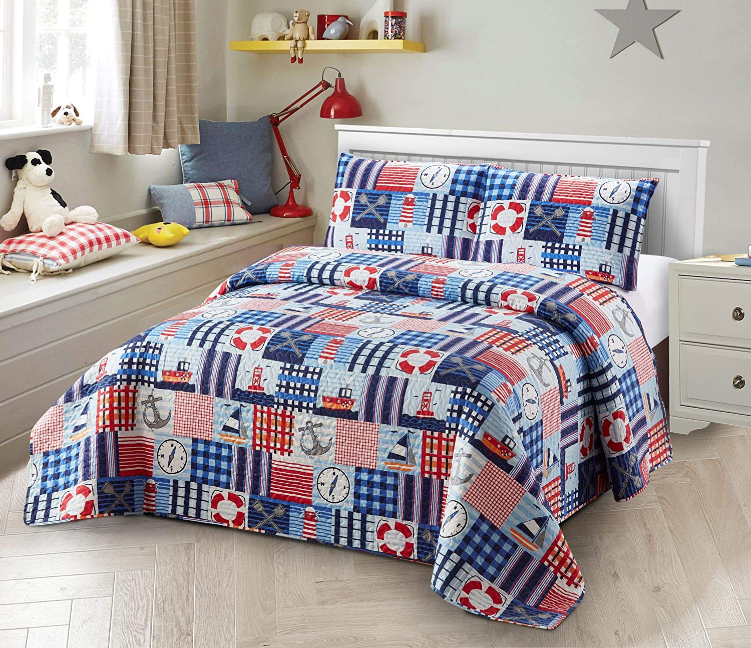 Better Home Style Patchwork Blue Red White Nautical Coastal Ships Lighthouse Anchor Sailor Nature Themed Style Kids/Boys/Toddler 2 Piece Coverlet Bedspread Quilt Set with Sham (Sailor, Twin)