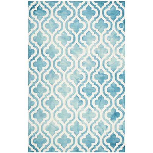Safavieh Dip Dye Collection DDY537D Handmade Vibrant Geometric Moroccan Watercolor Turquoise and Ivory Wool Area Rug 4 x 6