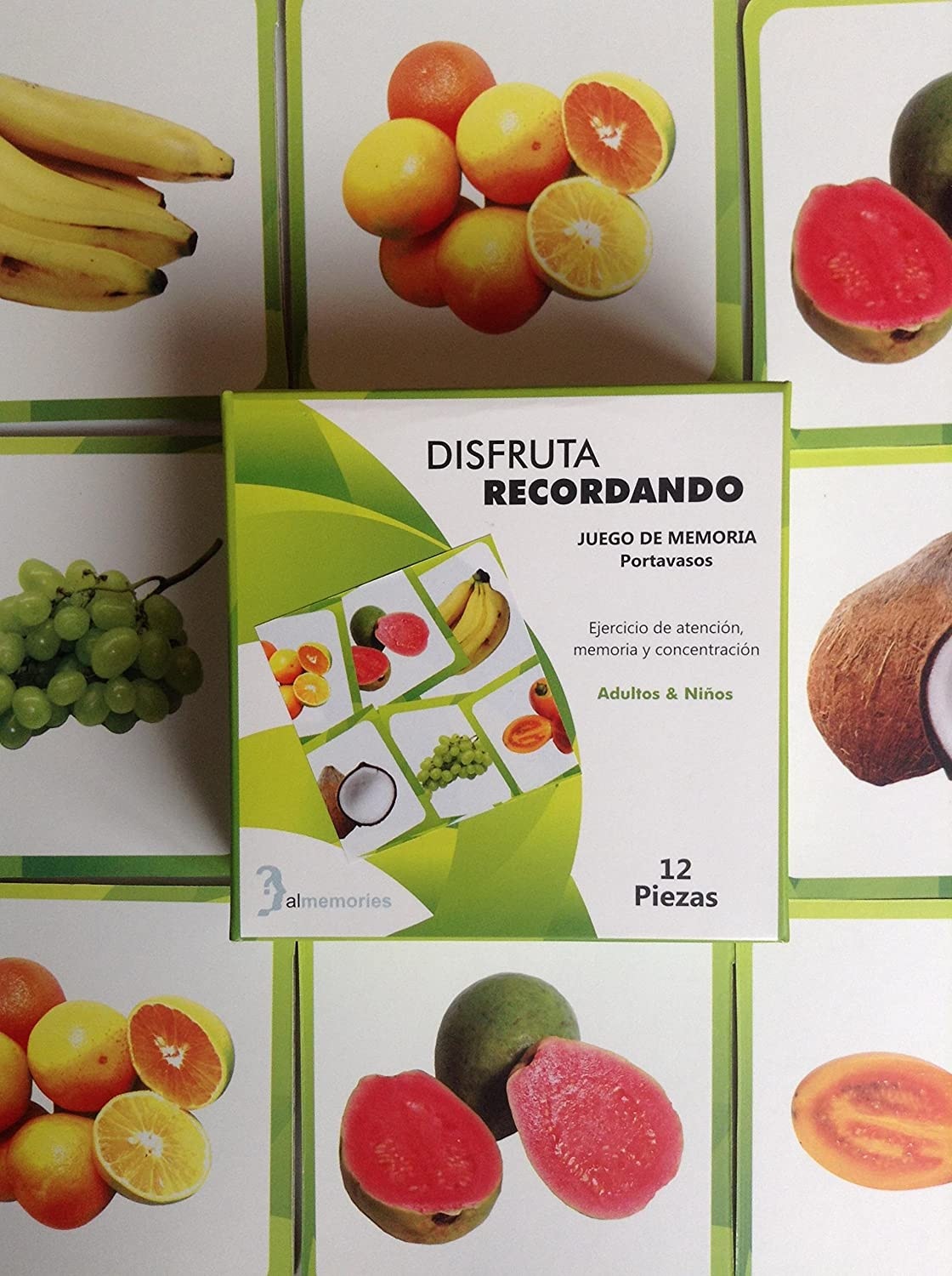 Amazon.com : Memory Game: 12 Pieces (4 X 4 Inches Ea) for Matching Fruit Images. Juego de Memoria - Frutas:12 Portavasos Juego de memoria 6 parejas de ...