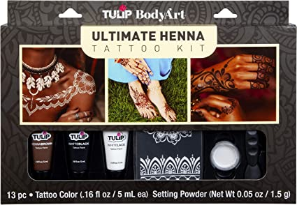 Amazon Com Tulip Body Art Ultimate Henna Tattoo Kit Temporary Tattoos Body Art Stencils Everything Else