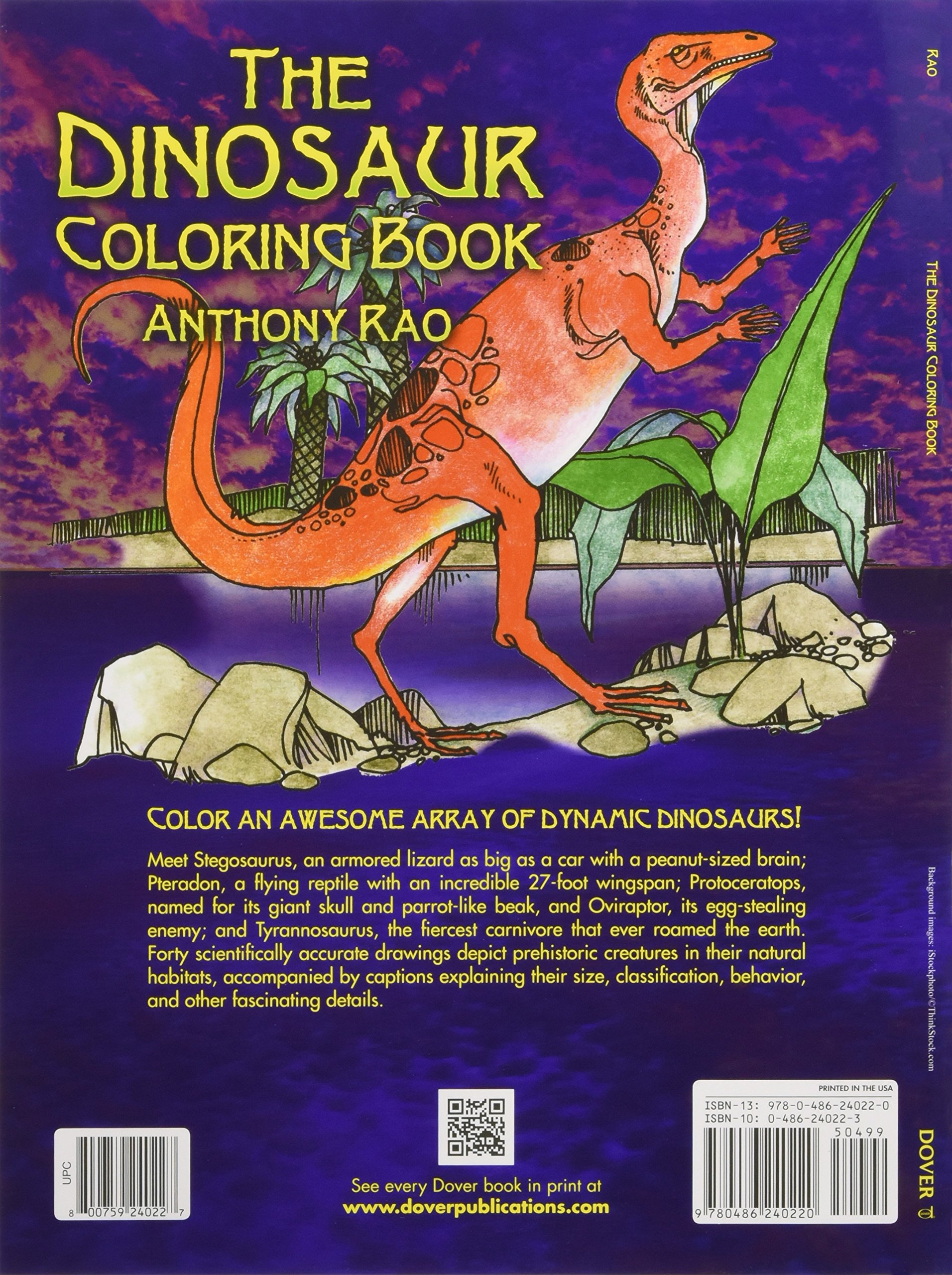 the dinosaur coloring book dover nature coloring book anthony rao 9780486240220 amazoncom books - Dinosaur Coloring Books