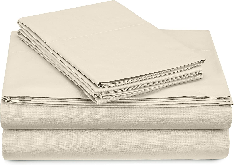 Pinzon 300 Thread Count Percale Cotton Sheet Set - Queen, Ivory