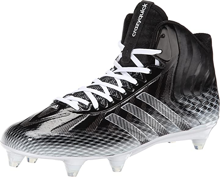 73a423f8d adidas Performance Men's Crazyquick Mid D Football Cleat, Black/Metalic  Silver/White,