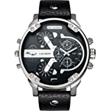 CAGARNY Original Men's Sports Leather Strap 2 dials can work Quartz Date Watch 6820 Silver Black