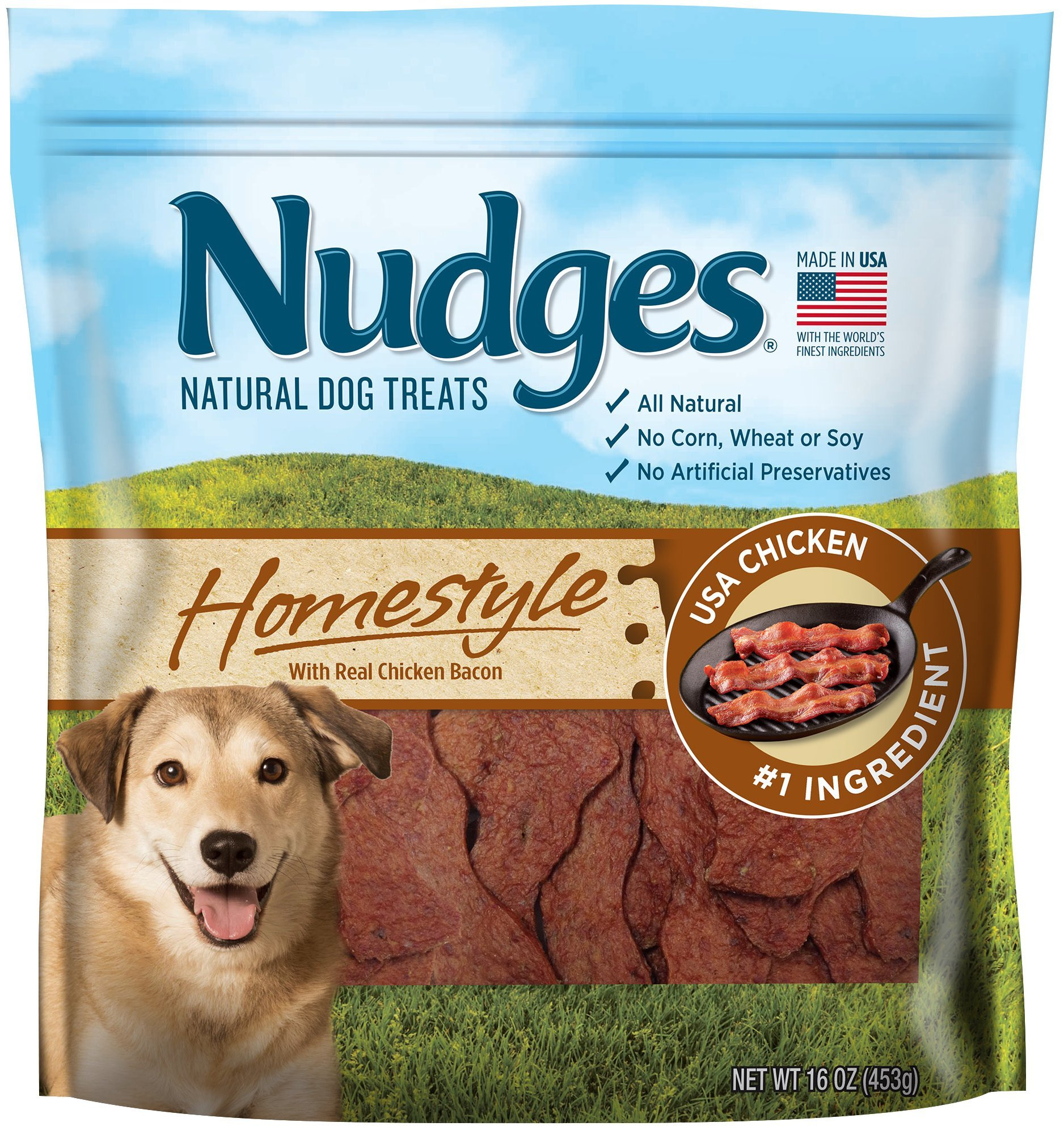 Nudges Chicken Bacon Sizzlers Dog Treats, 18 oz