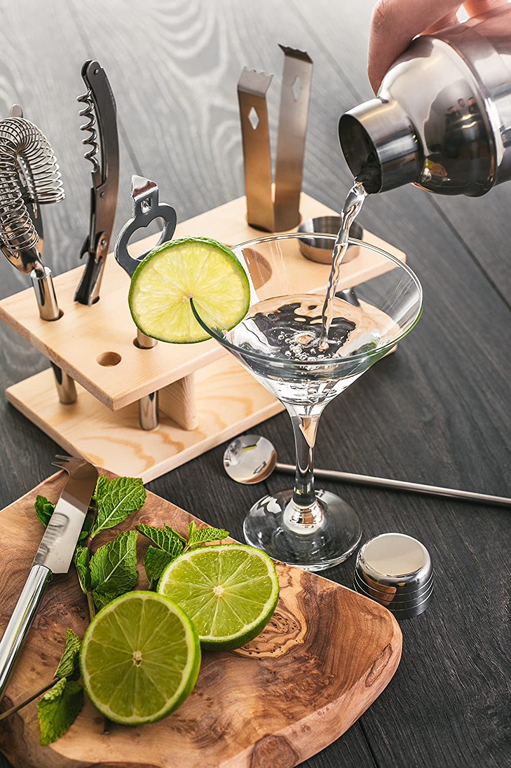 Muddler Fineway 10pc Bar Tool Jigger Strainer Bottle Opener Cocktail Shaker Maker Set With Wooden Stand Ideal Xmas Present Beer and Wine Bottle Opener Ice Tongs