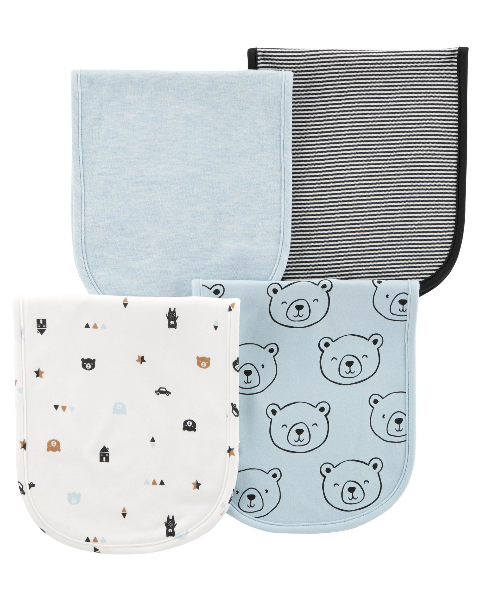 Carter's Baby Boy 4-Pack Burp Cloths, Blue, One Size